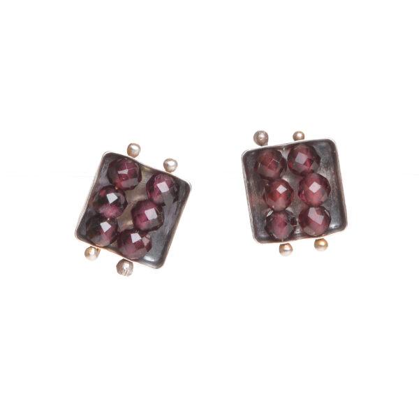 garnet square small abacus post earrings, handmade garnet stud earrings