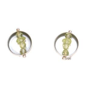 peridot and oxidized silver earrings