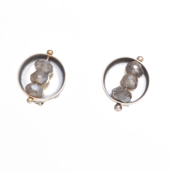 labradorite small stud earrings with oxidized silver, abacus earrings