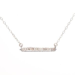labradorite and oxidized silver linear necklace, handmade everyday necklace with labradorite gray stones