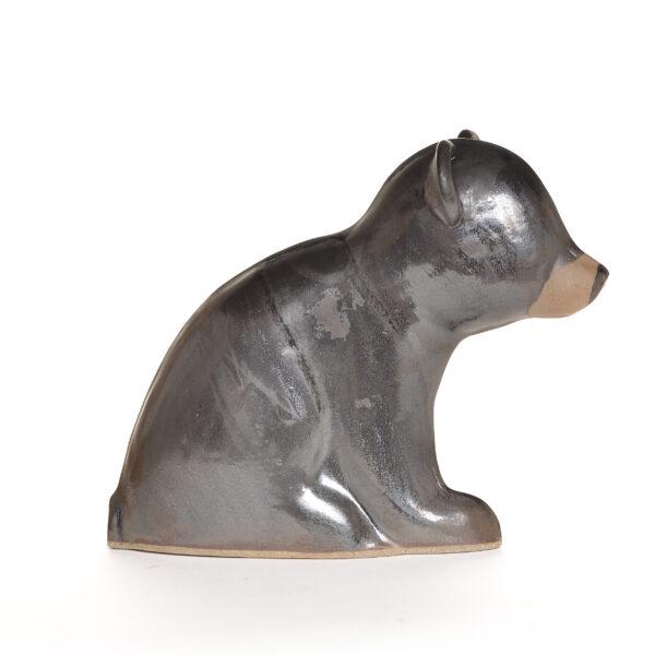 ceramic sculpture sitting black bear