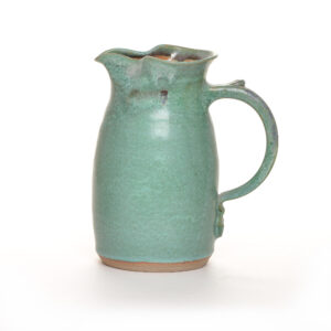 green handmade ceramic pitcher, weaverville nc pottery