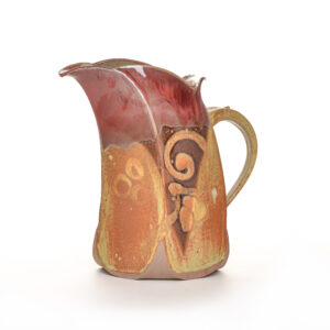 red and brown handmade ceramic pitcher, weaverville pottery, mangum potter