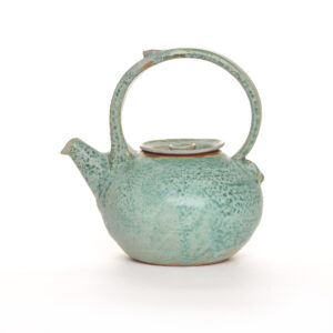 green handmade ceramic teapot, weaverville north carolina pottery