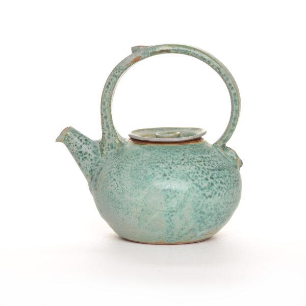 green handmade ceramic teapot, weaverville north carolina pottery