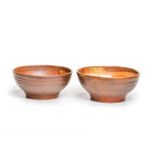 2 handmade stoneware bowls with a dark red glaze, handmade soup bowls, nc pottery, haywood community college