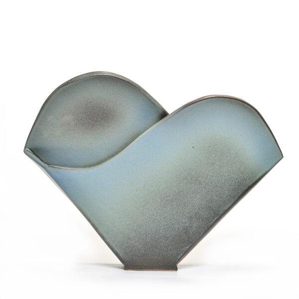 blue ceramic mountain sculpture, folk art center