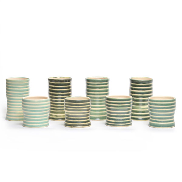 set of 8 ceramic cups with stripes, 4 large cups and 4 small cups, handmade striped cups
