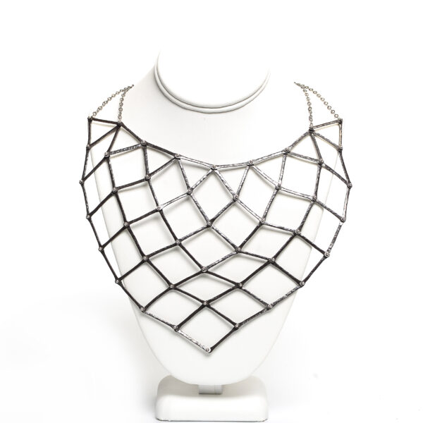 large handmade silver chainmail necklace