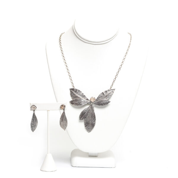 cast silver appalachian leave necklace and earrings with local TN quartz