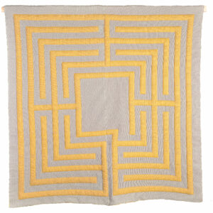 handmade double weave wall hanging in white and yellow