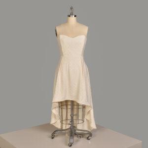 handmade white dress with overshot weave