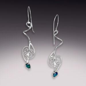 long silver filigree earrings with opal gemstones