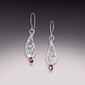 teardrop dragonfly silver filigree earrings with pink tourmaline