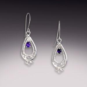 amethyst small drops filigree earrings