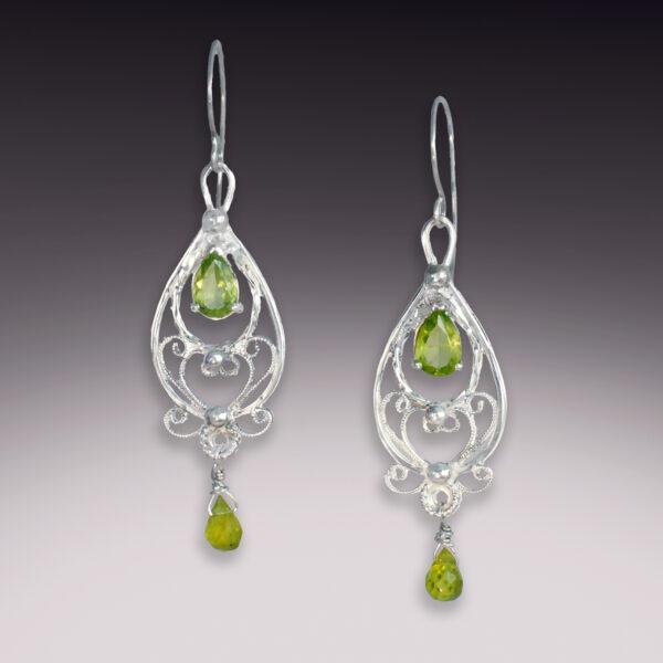 sterling silver filigree drop earrings with 2 peridot gemstones