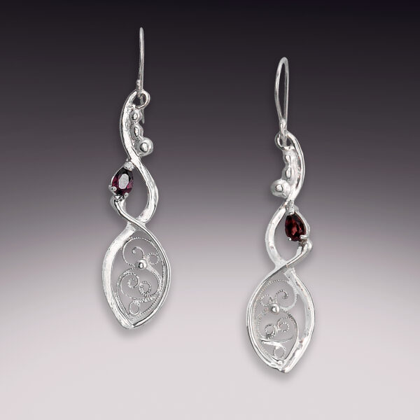 spiral helix filigree earrings with tourmaline stones