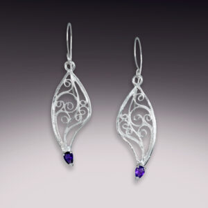 sterling silver filigree wing earrings with amethyst