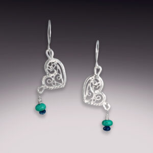 filigree butterfly wing earrings with turquoise and sapphires