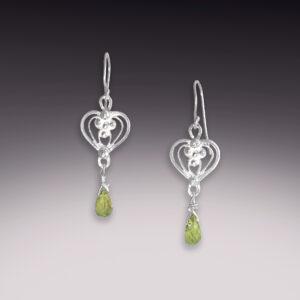 silver filigree heart earrings with peridot gemstones
