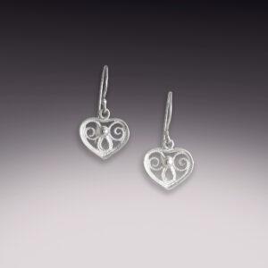 simple sterling silver heart filigree earrings