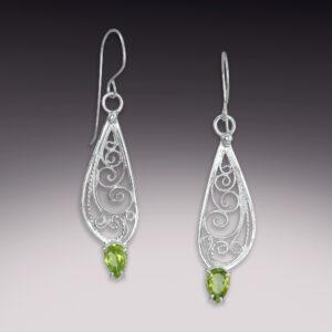 silver handmade filigree earrings with peridot gemstones