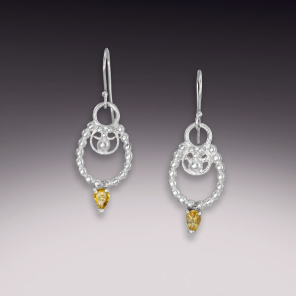 horseshoe filigree citrine earrings