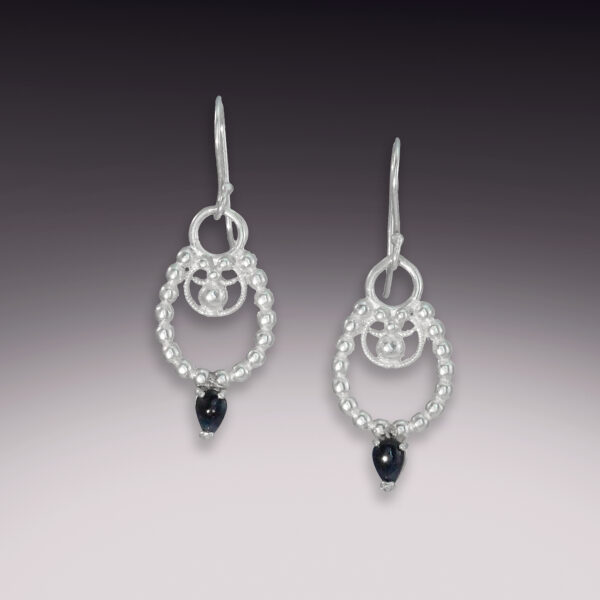 horseshoe blue sapphire filigree earrings silver