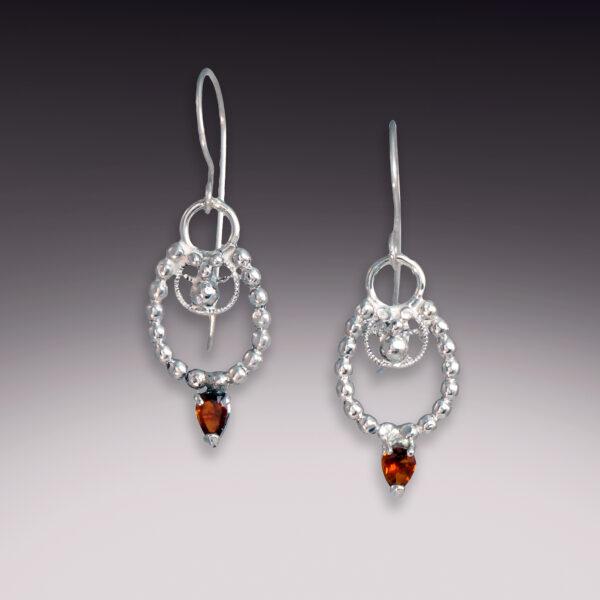 horseshoe earrings orange sapphire filigree