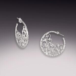flat filigree silver hoop earrings