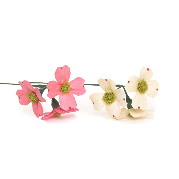 handmade corn shuck pink and white dogwood flowers, traditional crafts.