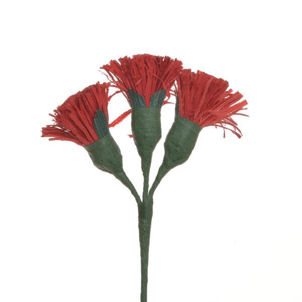 red handmade corn shuck button flowers