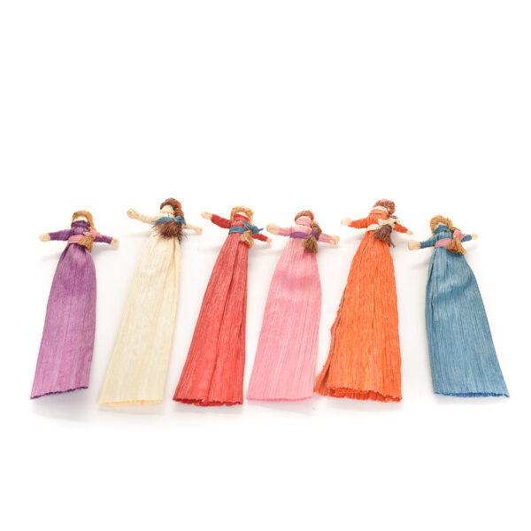 handmade corn shuck bookmarks of girls with braids