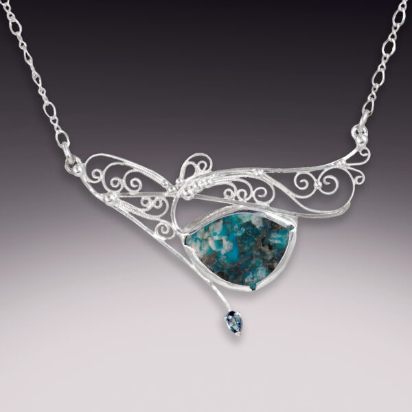 fancy silver filigree necklace with large turquoise stone