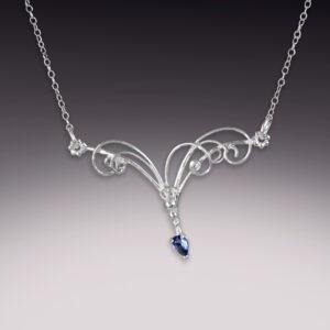 silver handmade filigree necklace with tanzanite