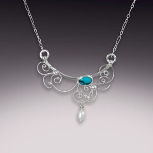 handmade silver filigree necklace with turquoise and pearl