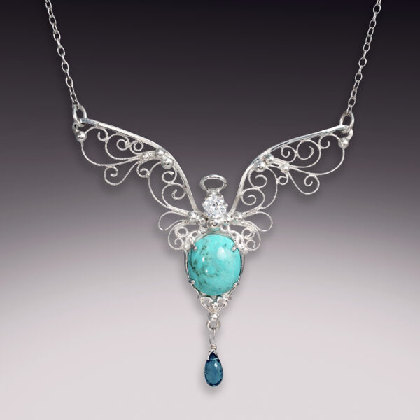handmade angel filigree necklace with turquoise and blue topaz