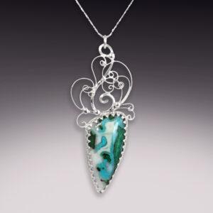 handmade silver filigree pendant with chrysocolla and malachite