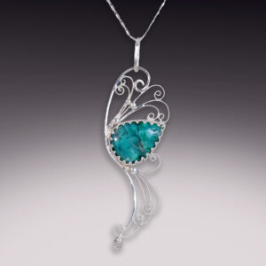 silver filigree handmade pendant with chrysocolla in chalcedony