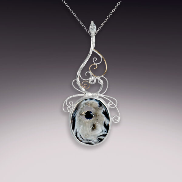 druzy agate with dark sapphire and white topaz silver filigree pendant