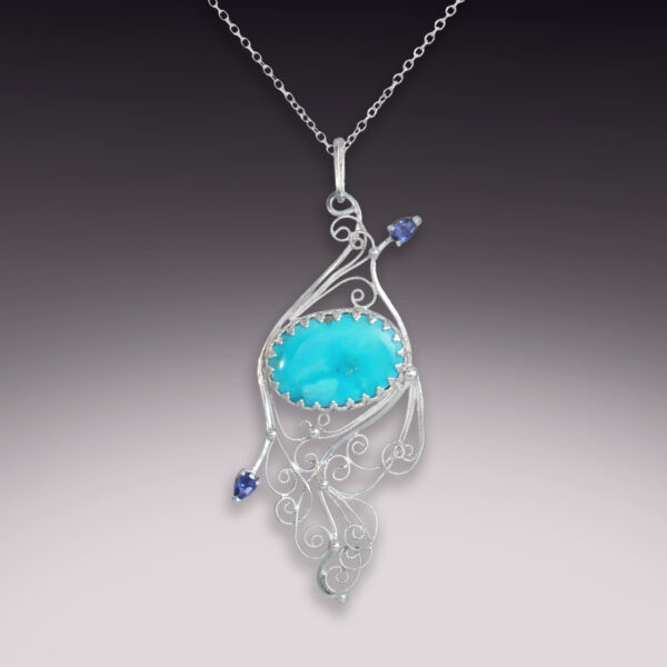 sterling silver filigree pendant with turquoise and iolite