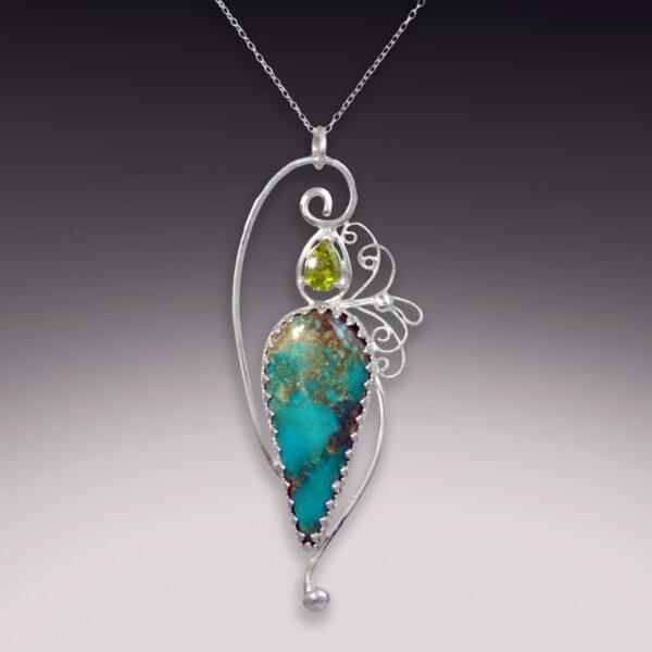 turquoise tear drop with peridot gemstone filigree pendant