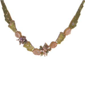 woven bead pink and green flower necklace neckpiece