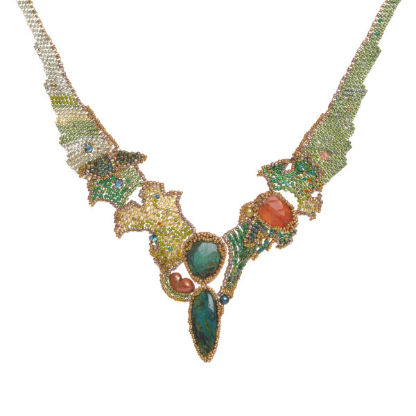 chrysocolla and carnelian woven beaded necklace