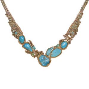 woven bead necklace with turquoise, woven bead statement necklace