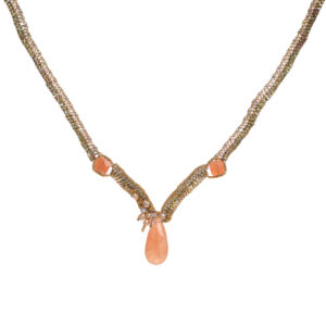 tangerine quartz necklace with woven seed beads