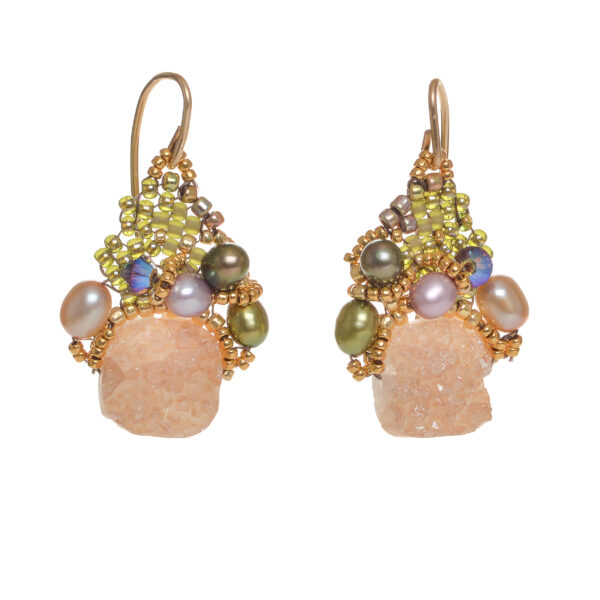 peach drusy quartz earrings