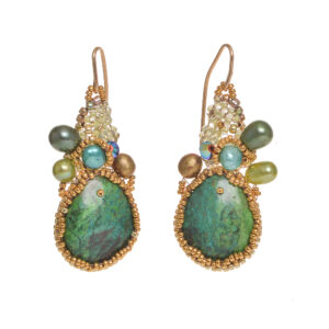 large turquoise earrings made with woven seed beads