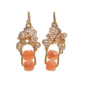 tangerine quartz woven bead earrings