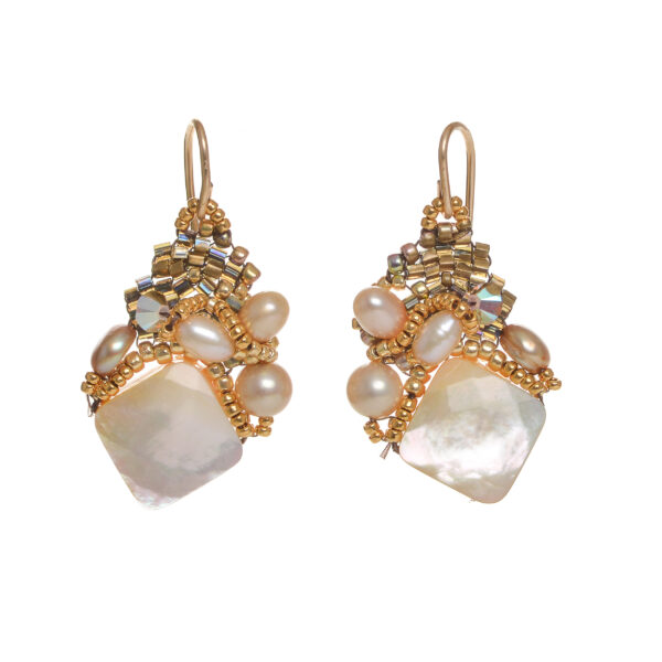 square mother of pearl woven bead cluster earrings